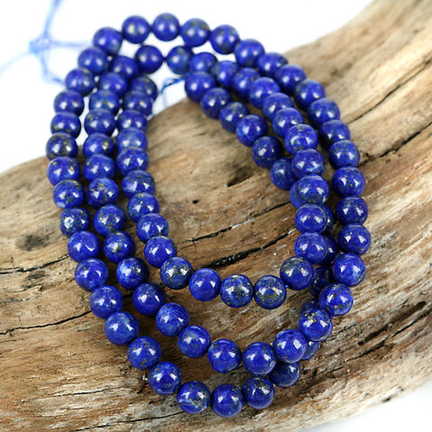 6mm Natural Afghan Lapis Lazuli Gemstone Beads