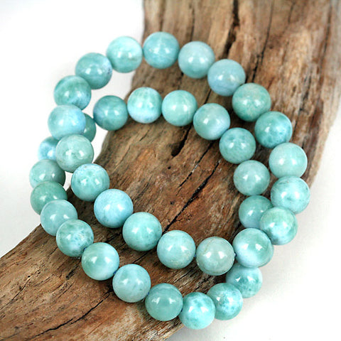 Rare Natural Larimar Gemstone Bead Bracelet 8 - 9mm