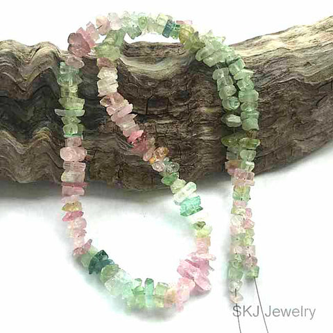 Multi Color Tourmaline Rough Crystal Beads