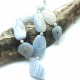 9 Blue Lace Agate Beads Clearance