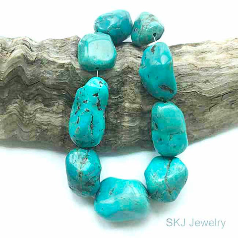 Blue Turquoise Nugget Gemstone Beads
