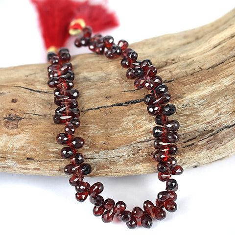 Untreated Mozambique Garnet Brio Drop Beads