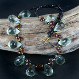 Green Amethyst & Garnet Bead Necklace