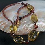 Quartz Gemstone & Garnet Bead Necklace