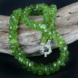 Chunky Peridot Cut Nugget Necklace