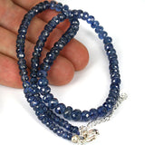 Translucent Real Blue Sapphire Gemstone Bead Necklace