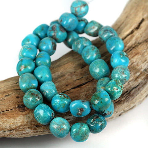 Real Blue Turquoise Gemstone Bead 16 Inch Str. Stabilized USA Turquoise