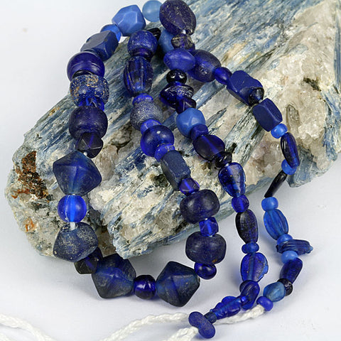 Blue Bohemian Old Glass Trade Beads
