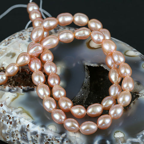 8mm Pinkish Oval Color Pearl Beads