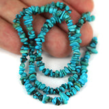 Petite Blue Turquoise Stabilised Gemstone Bead Str. Small Stacked Nugget Shape