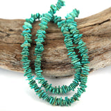 Petite Green Turquoise Stabilised Gemstone Bead Str. Small Stacked Nugget Shape