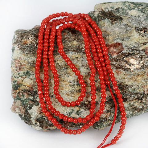 African Traded Coral Bead Str. 2-3mm