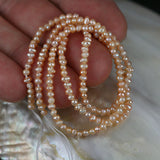 Small Apricot Pearl Rice Stacked Nugget Beads