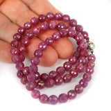 Untreated 6mm Faceted Ruby 18 Inch Length