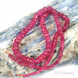 Fat Pinkish Ruby Rondel Gemstone Beads 3mm - 6mm