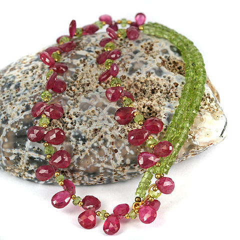 Peridot & Ruby Brio Necklace