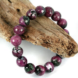 10mm Facet Ruby Zoisite Bead Bracelet