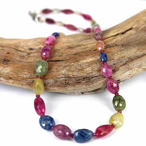 Multi Color Sapphire Gemstone Bead Necklace
