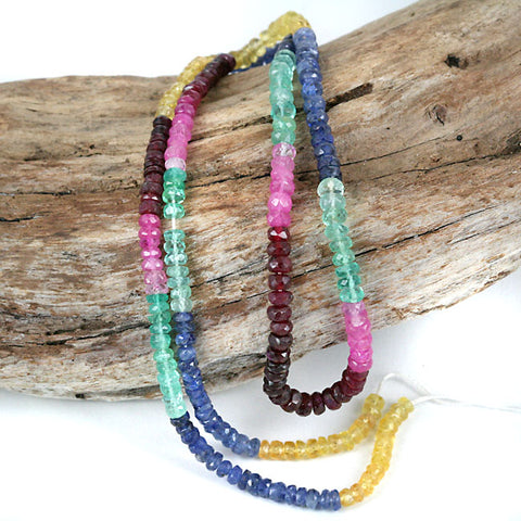 Natural Multi Color Ruby Emerald Sapphire Gemstone Beads