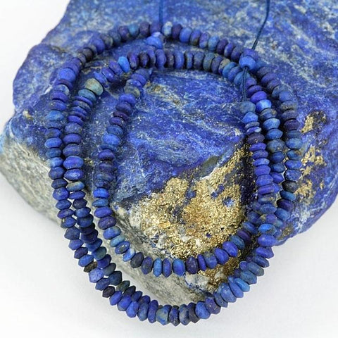 Natural Lapis lazuli Seed Rondel Beads - Afghanistan