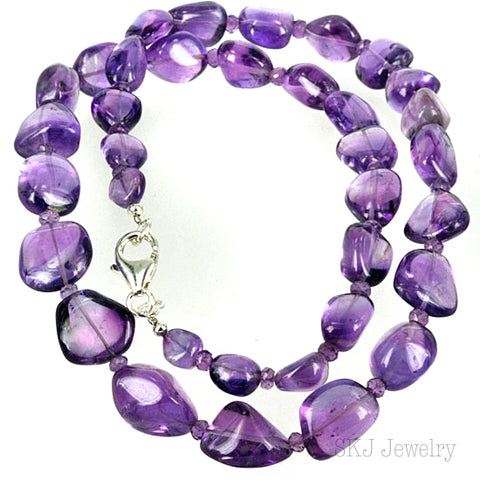 Real Amethyst Gemstone Bead Necklace - 18 Inch length
