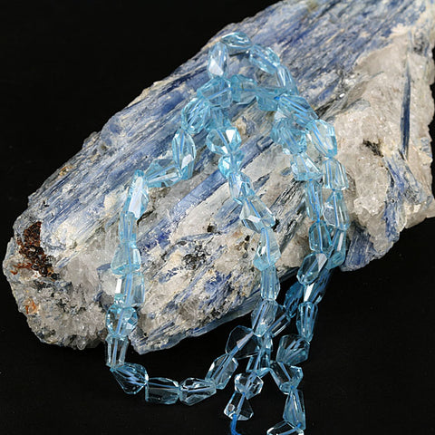 Nugget Blue Topaz Brio Drop Gemstone Beads