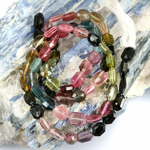 High Grade Tourmaline Gemstone Beads - Faceted Tabular