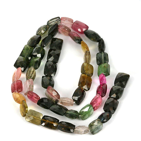 High Grade Natural Tourmaline Gemstone facet Cut Beads. 15 Inch Str.