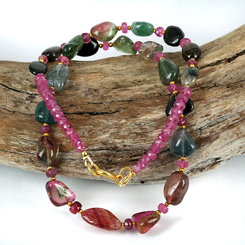 Tourmaline Nugget & Ruby Gemstone Bead Necklace
