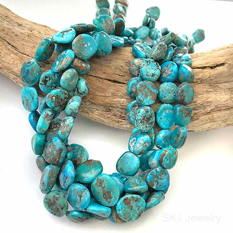 Blue Turquoise Gemstone Disc Beads 16 Inch Str. USA