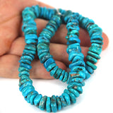 Blue Turquoise Gemstone Rondel Beads. Real Arizona Mined