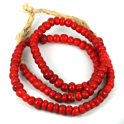 Venetian Glass White Heart Trade Beads - Red