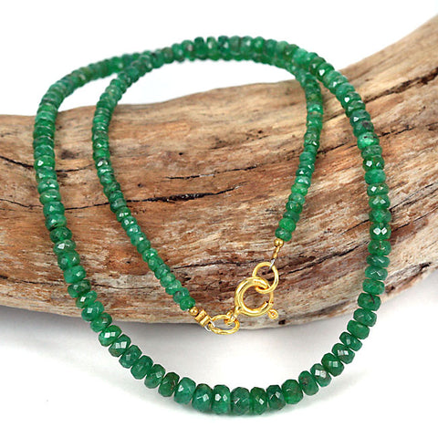 Natural Zambian Emerald Gemstone Bead Necklace