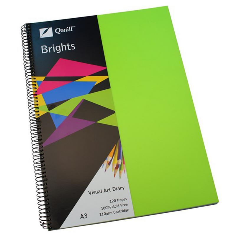 Visual Art Diary Quill A3 Lime Green