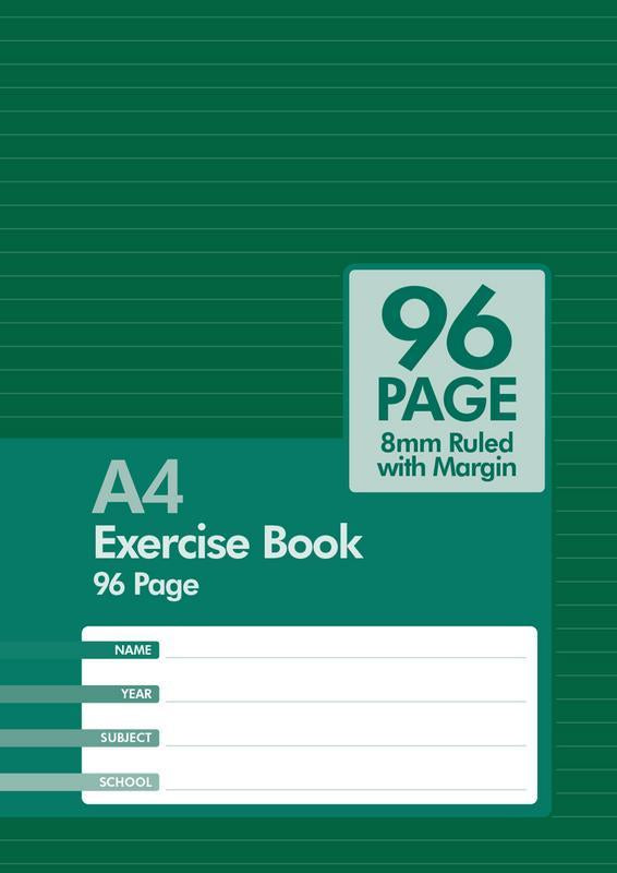 Exercise Book A4 96 Page 8mm Ruled Red Margin