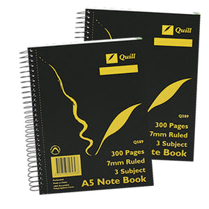 3 Subject Exercise Book Quill Q589 A5 150 Leaf