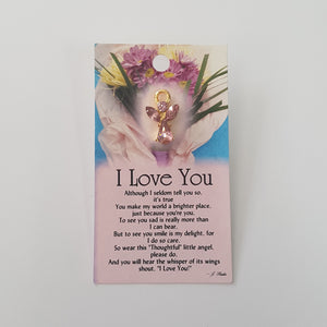 THOUGHTFUL ANGEL PIN - I LOVE YOU