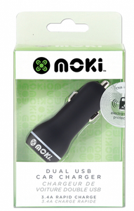 Moki Dual USB Car Charger Black