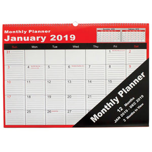 Wall Planner 2019 Cumberland Spiral Monthly