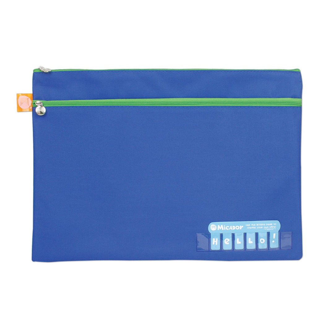 Pencil Case Name Fabric 2 Zip 375x264 Dark Blue