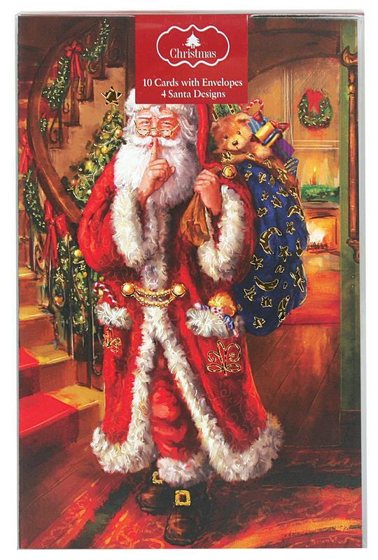 Christmas Cards Foil Santa Pack of 10