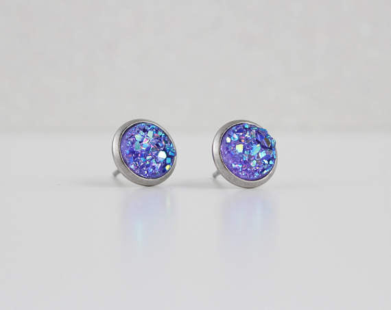 A Tea Leaf Jewelry - Violet Purple Druzy Crystal Earrings | Stainless Steel