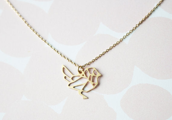 A Tea Leaf Jewelry - Bird Geometric Necklace | Silver Plated