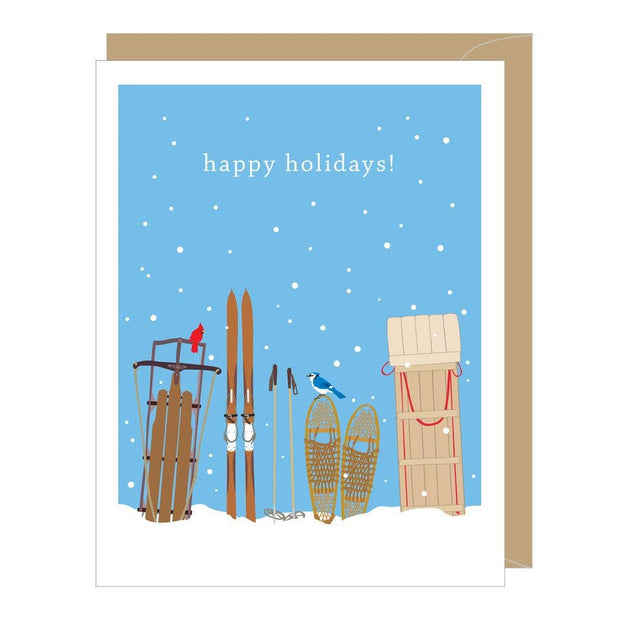 Apartment 2 Cards - Holiday Sleds Greeted Card (single or boxed)