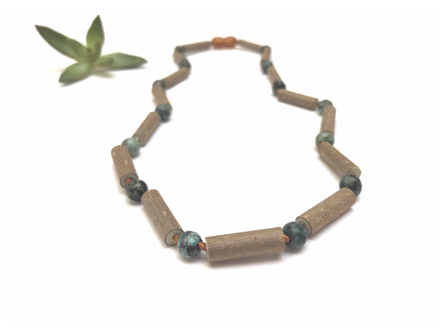 CanyonLeaf - Adult: Hazelwood + Turquoise Jasper Necklace