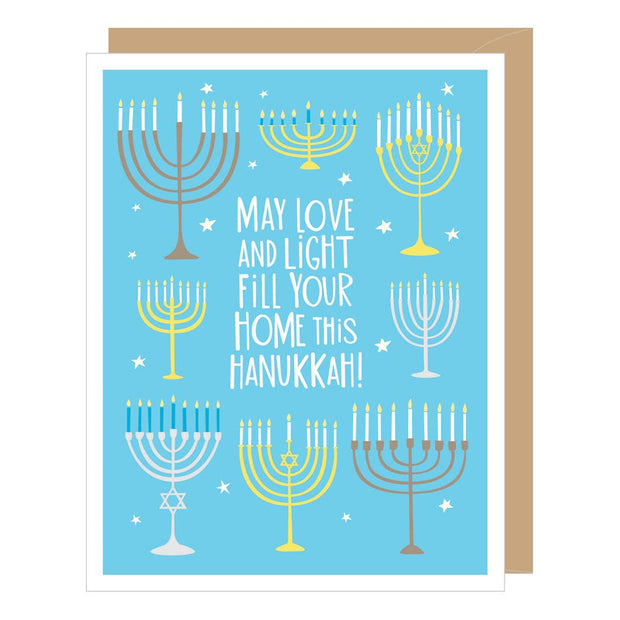Apartment 2 Cards - Eight Menorahs Greeted Hanukkah Card (single or boxed)