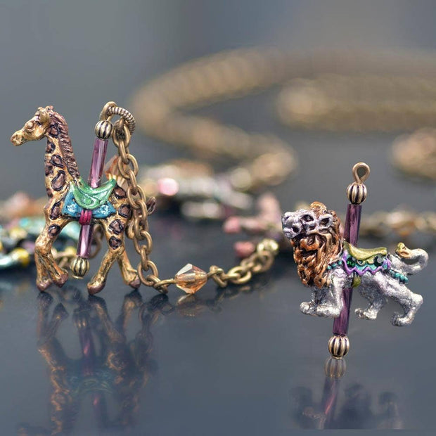Sweet Romance Jewelry - Carousel Animals Charm Necklace
