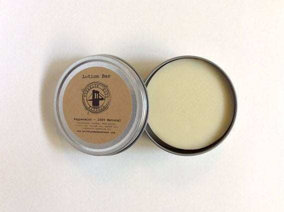 peppermint lotion bar in tin Brooklyn Made Natural