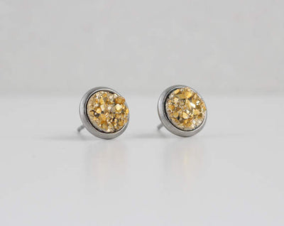 A Tea Leaf Jewelry - Gold Druzy Crystal Earrings