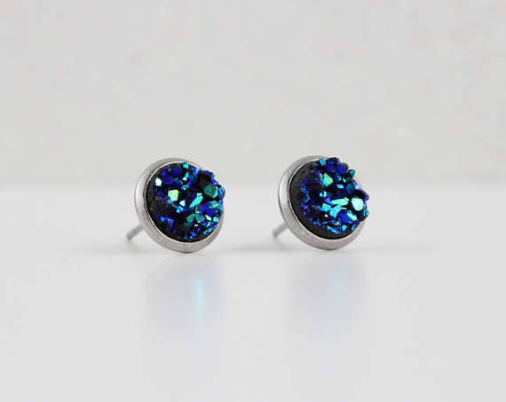 A Tea Leaf Jewelry - Blue Green Druzy Crystal Earrings | Stainless Steel